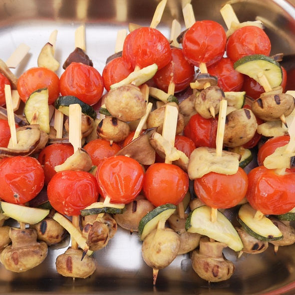 Gemuesespiess in Honig-Senf-Marinade